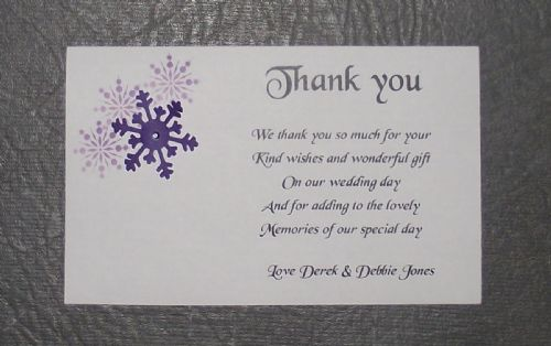 Thank You Cards Wedding various colours and designs Personalised Corner design with Snowflakes x 10